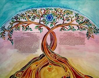 CUSTOM KETUBAH - Modern Ketubahs - Ketubbahs - Jewish weddings - Jewish Marriage Contract - Jewish Judaica Art Print - Linked Trees