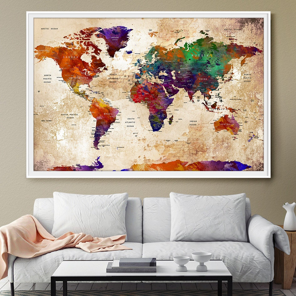 watercolor large map world push pin travel wall texture extra. Black Bedroom Furniture Sets. Home Design Ideas