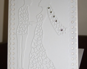 Luxury Greetings Card - Bride and Groom - White and Silver with Swarvoski Crystals