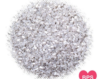 Platinum Silver Sparkling Sugar, Edible Sprinkles, Crystal Sugar, Christmas Sprinkles, Silver Wedding Sprinkles, Edible Glitter Sprinkles