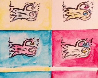 Anglerfish Postcards / Pop Art /  Handmade Mail Art (set of 3)