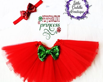 Christmas Baby Outfit, Holiday Outfit, Christmas Outfit, First Christmas Outfit, Christmas Bodysuit, Peppermint Princess, Christmas