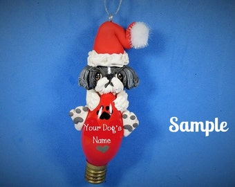 Dark Grey and White Shih Tzu Santa Dog Christmas Holidays Light Bulb Ornament Sally's Bits of Clay PERSONALIZED FREE with dog's name