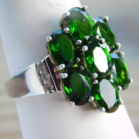 Russian Chrome Diopside Ring / Siberian Emerald / Size 8 / Sterling Silver / 6 ctw