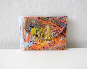 Visitenkarten-Etui, Kreditkarteninhaber, kleine Brieftasche, Hand marmoriert orange lila Snap Verschluss Brieftasche