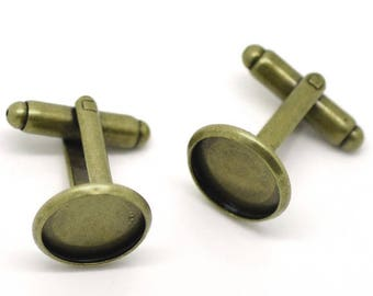 30 Cuff Links - WHOLESALE - Antique Bronze - 12mm Cabochon Frames - High Quality COPPER Material - 26x18mm - Ships IMMEDIATELY - A588b