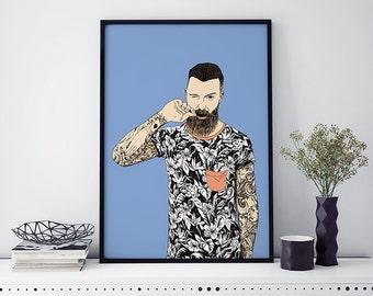 Affiche illustration hipster et tatouages - A4 - A3