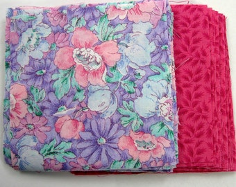 Purple and Pink Floral  40 - 4 inch Fabric Quilt  Squares