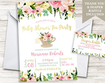 Baby Shower Tea Party Invitation Invite 5x7 Digital Sprinkle Watercolor Floral Flowers Personalized