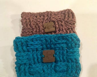 Coffee cozies, hand protectors, crochet cozy, basketweave, blue and light mauve, gift set, Qb designs, crochet gifts, for her, coffee drinks
