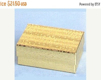 TAX SEASON Stock up 100 Pack Gold Foil Cotton Filled 21 Size Cotton Filled Boxes 2.5 Inch by 1.5 inch by 7/8 Inch Size