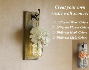 Rustic Wall Decor, Mason Jar Sconce, Distressed Sconce, Farmhouse Decor, Rustic Home Decor, Mason Jar Wall Decor, Lighted Wall Sconces