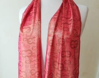 Escada, scarf of mixed silk pink scarf scarf beads