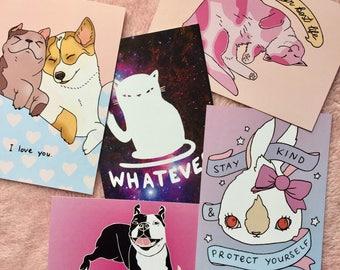 Lovestruck animals - Postcard Pack of 3 - Lovestruck prints - whatever cat - bunny - pooches
