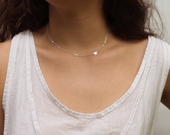 Dainty Sideways Star Necklace, Sterling Silver Star Necklace, Off Side Star Necklace, Available in Silver, Gold and Rose Gold