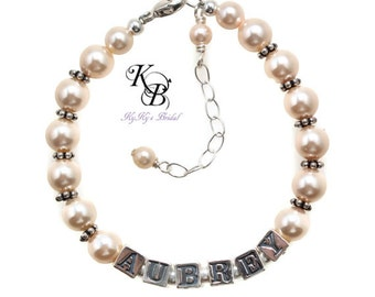 Personalized Bracelet Flower Girl Bracelet Personalized Jewelry Name Bracelets Custom Flower Girl Jewelry Choose Your Colors Flowergirl Gift