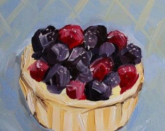 oil painting - Berry Tart - dessert art - blue kitchen wall art - foodie gift - kitchen decor - berries - spring art