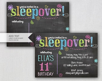 Sleepover Invitation /  Chalkboard Sleepover Party / Instant Download  / Add Your Own Text / INVITATION TEMPLATE / #5504