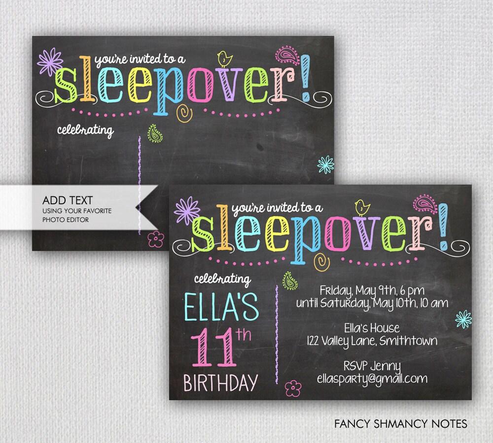 Sleepover Invitation / Chalkboard Sleepover Party / Instant