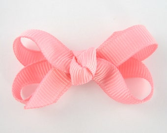 Baby Hair Bow in Cotton Candy Pink - Extra Small Boutique Bow On Mini Snap Clip for Fine Hair Newborn to Toddler - Non Slip Barrette mm