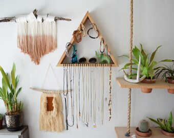 Waterfall Wall Jewelry Shelf . Jewelry Rack . Wooden Triangle . Boho . Ring Holder . Necklace Holder . Jewelry Stand