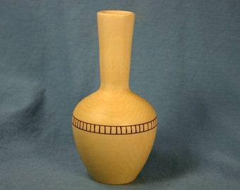 Holly Wood Bud Vase with Woodburned Dentil Band
