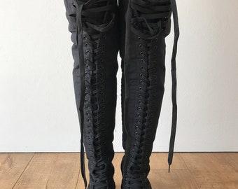 RTBU OREO 35 Hole Punk Goth Thigh Hi Canvas Laceup Zip Sneaker Boots Black