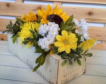 Floral Arrangement, Sunflower Centerpiece, Sunflower Arrangement, Wedding Centerpiece