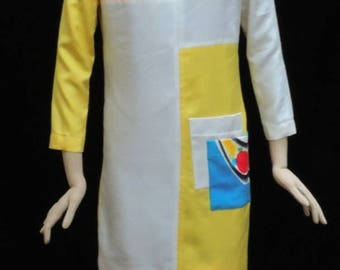 Hand Painted Dress Yellow Silk Yolanda Lorente Abstract Art to Wear Frock Vintage Size P