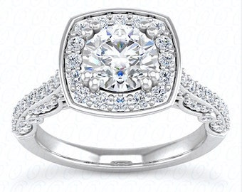 1.69ct H-I1 Round Diamond Engagement Ring Halo 18kt White Gold GIA certified Blueriver4747