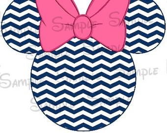 Navy Blue Chevron Digital Printable Mouse Head file DIY Personalize-able