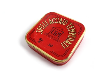 Vintage Collectible Tin Box for Steel Pins CGM DOMUS - Red and Gold Italian tin box - 1960s