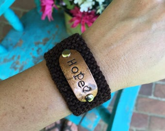 Custom Hand Stamped Brown Cuff Bracelet, Christian Hope Bracelet, Scripture Bible Verse Jewelry