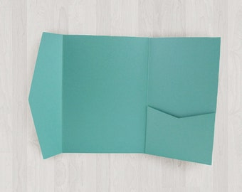 10 Large Vertical Pocket Enclosures - Teal & Blue-Green - DIY Invitations - Invitation Enclosures for Weddings and Other Events