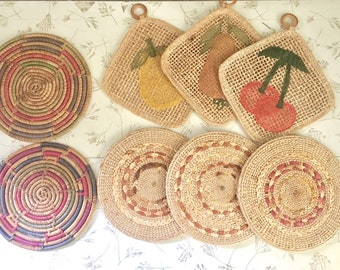 Vintage Wicker Potholders and Trivets, Boho Kitchen, Woven Kitchen Accessories