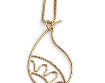 Gold Paisley necklace, paisley pendant, Indian jewellery, paisley jewellery, mehindi jewellery, teardrop, filigree jewellery, mum gift