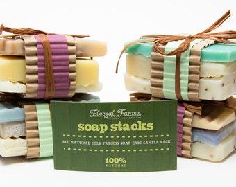 All Natural Handmade Soap Sample Stacks/ Vegan/Palm Free/ Rainwater Soap