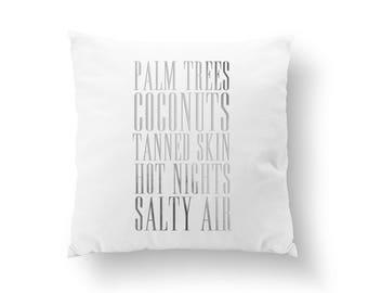 Palm Trees, Coconuts, Nautical Decor, Throw Pillow, Decorative Pillow, Summer Art, Beach Home Decor, Gold Pillow, Cushion Cover, Bed Pillow