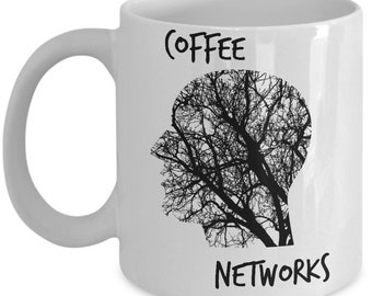 Coffee Networks - Coffee Mug - Head with Coffee Veins - 11 oz Ceramic Mug