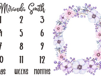 Girl Milestone Fabric in Violet Watercolor Floral / Personalized Name Fabric / Photo Prop Fabric / Calendar Fabric /Newborn First Year