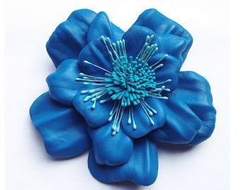 Leather Flower Brooch, blue flower, broach, OOAK, wedding corsage, flower corsage, floral brooch, flower pin (65)