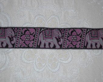 Pink Black Woven Elephant Jacquard Ribbon Trim 4+yds