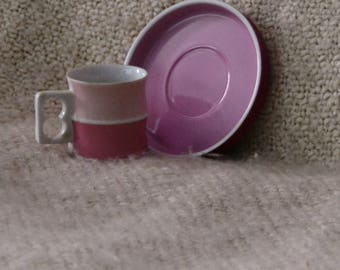 BLOCK CHROMATICS CHINA.. 1 Cup / 1 Saucer, Germany, Rare, Discontinued, Pink / Purple, Esresso, exc. cond., Stunning !! Vintage 70s.