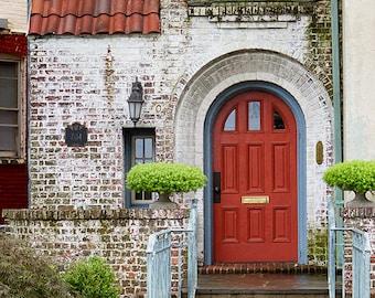 Red Door Photograph, Rustic Home Decor, Crimson Red, Scarlet, Green, Beige, Shabby Chic, Brick, Urban, Architecture - Red Door