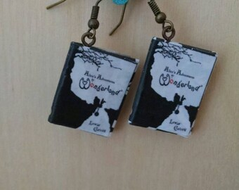 Mini Alice in Wonderland Book Earrings - Handmade Book Jewelry - Handmade Book Earrings - Mini Book Jewelry - Handmade Mini Book Earrings