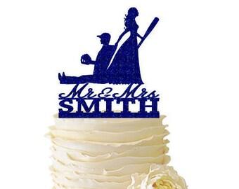 Glitter Bride Dragging Baseball Playing Groom - Baseball Cake Topper - With Last Name - Wedding - Anniversary - 171