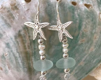 starfish pearl sea foam sea glass earrings, sea glass pearl earrings, Atlantic sea glass earrings, bridal bridesmaid beach wedding