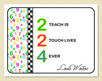 Cute Number Message For Teachers - Personalized Note Cards (10 Folded)