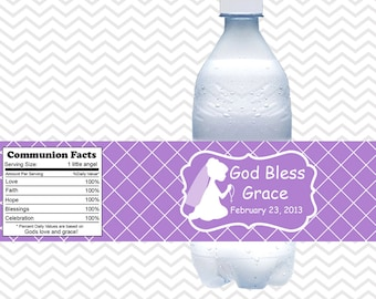 Kneeling Girl Purple Baptism Christening First Holy Communion  - Personalized water bottle labels - Set of 5  Waterproof labels