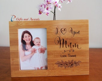 """Personalised Bamboo Engraved photo frame hold 4x6""""photo- Gift for Mum/Grandma- Gift for her- Mothers day gift- Birthday gift- I love you Mum"""